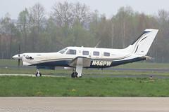 N46PW - 2005 build Piper PA-46-350P Malibu Mirage/Jetprop DLX conversion, taxiing for departure on Runway 06 at Friedrichshafen during Aero 2019 (egcc) Tags: 170 4636370 aero aerofriedrichshafen aerofriedrichshafen2019 bodensee edny fdh friedrichshafen jetpropdlx lightroom malibu n3064k n46pw pa46 piper