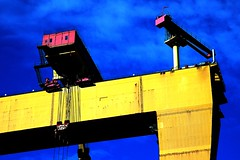 Primary Coloured Crane (Puckpics) Tags: goliath harlandandwolff crane supergoliath shiprepaircrane industial krupp