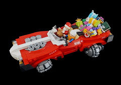 Santa's (little) helper (Sylon-tw) Tags: sylon sylontw lego moc santa xmas christmas present presents gift godsend race hores power horespower red claus december details space thunderbolt engine engines pickup truck