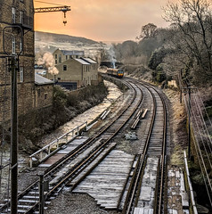 KWVR Haworth West Yorkshire 30th November 2019 (loose_grip_99) Tags: kwvr railroad england train branch yorkshire north tracks rail railway valley transportation midland westyorkshire preservation haworth november sunrise dawn stream diesel trains multiple railways unit 2019 gassteam