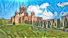 St. Gregory the Illuminator Cathedral in Yerevan. Armenia (V_Dagaev) Tags: yerevan armenia stgregorytheilluminatorcathedral capital cathedral sky clouds building tower field landscape summer fortress painterly painting painter paintingsfromphotos paint visualdelights digital dynamicautopainter