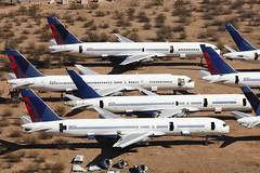 Delta Airlines Boeing 757s, Pinal Airpark, Tucson - Arizona (ColinParker777) Tags: boeing aircraft airliner airplane plane aeroplane aviation scrap scrapping scrapped retired retirement spares old scecial scheme livery colours colors air airlines airways boneyard dismantle crates disused unused mzj marana tucson pinal airpark arizona usa united states america engineless canon 5d l lens zoom spotting spotter 757 757200 b757 b757200 dal dl delta 5dsr n625dl n617dl n657dl n609dl n626dl