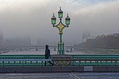 Foggy Morning (Croydon Clicker) Tags: fog mist freezing river water thames bridge lamp person pedestrian barrier railing road westminster london nikond700 nikkoraf28105mmd