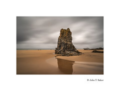 Rock Steady (silver/halide) Tags: cornwall seashore lowtide longexposure le johnbaker gwithian atlanticocean godrevyisland