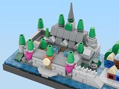 "Disney's ""Frozen"" Lego Skyline (Arendelle Castle close-up)) (BenBuildsLego) Tags: arendelle frozen disney disneys skyline architecture micro microscale mini tiny castle kingdom palace elsa anna olaf norwegian lego legos benbuildslego cool design instructions water ocean river animated movie"