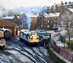 KWVR Haworth West Yorkshire 30th November 2019 (loose_grip_99) Tags: kwvr haworth westyorkshire yorkshire north england uk railway railroad rail train diesel class37 smoke shed mpd depot preservation transportation trains railways tracks trackscape engine locomotive november 2019 37075