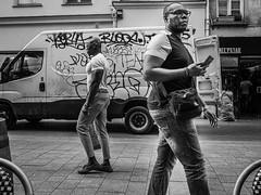 crossing paths (rick miller foto) Tags: m43 em10markii 17mm olympus portraits monotone mono bw blackandwhite stories street 3rdarr lemarais france paris