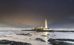 St Mary's at Sunset (Alex365pix) Tags: stmarys lighthouses seascapes leefilters landscape le sunset sea reflections nikon northeastcoast benro rocks