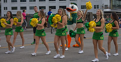 Cheerleaders On Parade (Scott 97006) Tags: ladies woman females cheerleaders beauty outfits skirts parade