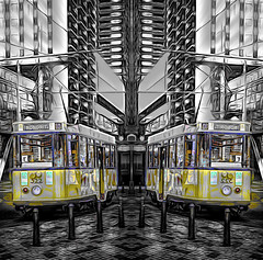 Rondrit 10 (beelzebub2011) Tags: netherlands holland rotterdam selectivecolor tram abstract mirrorimage