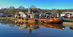 rust reflected--and change at last (midcheshireman) Tags: boat tug tugboat proceed river weaver cheshire northwich wreck