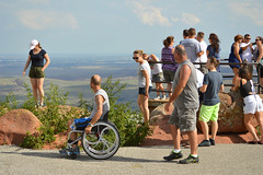 A crowded day on the lookout (radargeek) Tags: september 2018 ok oklahoma mountscott wichitamountains refuge wheelchair kid kids child children sunglasses