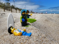 At the beach (sander_sloots) Tags: lego afol minifig panasonic dctz90 perth lumix scarborough beach strand sand surfboard surfplank zand toy photography clouds surfers diver duiker speelgoed fotografie australia australië western west
