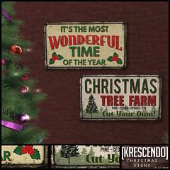[Kres] Christmas Signs ([krescendo]) Tags: kres krescendo secondlife sl christmas festive
