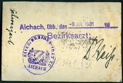 Archiv U609 Bezirksarzt (back), Dr. Weiß, Aichach, Oberbayern, 9. Juli 1931 (Hans-Michael Tappen) Tags: archivhansmichaeltappen archiv16 archivu siegel stempel unterschrift aichach drweis bezirksarzt 1931 1930s 1930er