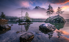 First snow (gregor158) Tags: snow winter fog mist clouds sunset lake rocks stones trees tree mountains mountain germany hintersee berchtesgaden reflection moody mystic