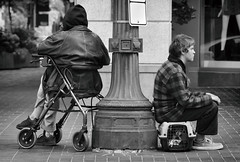 The Chilling Post (Ian Sane) Tags: ian sane images thechillingpost rollatorwalkertransportchair dogcarrier dog monochrome blackwhite candid street photography downtown portland oregon city urban pioneerplace southwest morrison 4th avenue canon eos 5ds r camera ef70200mm f28l is usm lens monochromemonday