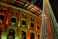 Arenas (Fnikos) Tags: city building architecture decor decoration tree christmas xmas wall windows color colour colores colours colors light dark shadow shadows arenas night nightview nightshot outside outdoor
