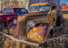 It's a Chevrolet (1940) (Kool Cats Photography over 13 Million Views) Tags: chevy chevrolet rusty abandoned truck oldtruck headlights headlamps oklahoma classic classiccar vehicle ricohgrii landscape luminar photography hdr 1940
