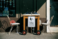 Public Typing Station (Ian Sane) Tags: ian sane images publictypingstation pearl district portland oregon northwest 12th avenue typewriters outside sidewalk street photography whimsicalwednesday sunlight canon eos 5ds r camera ef1740mm f4l usm lens