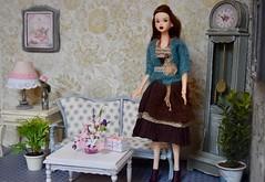 Momoko Living Room (Girl Least Likely To) Tags: momoko sekiguchi asianfashiondolls dress sweater knitwear dolls auburn livingroom diorama dollhouse dollscene dollroom miniatures smallworlds toys