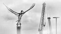 Reach for the Sky #2 (Brian Negus) Tags: sculpture silverefexpro cloud crane seagull docks sky sunderland harbourside blackandwhite riverwear light flight