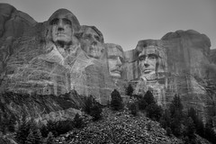A Portrait of Four Presidents Carved in Stone on a Mountainside (Black & White, Mount Rushmore National Memorial)