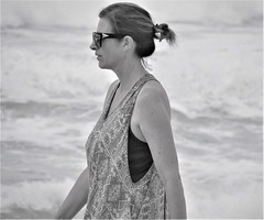 Passing by (thomasgorman1) Tags: bw monochrome woman beach canon oahu island travel walking sunglasses candid hawaii