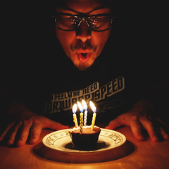 day 333 (Randomographer) Tags: project365 self portrait selfie human birthday cake cupcake candle flame blow light face hands plate table dark candlelight glow hostess chocolate frosting celebration celebrate love yourself 333 365 vii 2019 man sugar indulgent squiggles icing wish