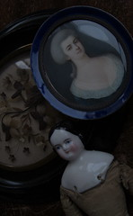 FERN_antique china doll_1850 & portrait miniature painting & hair reliquary (leaf whispers) Tags: shoulder head doll china german germany porcelain artist art obsolete light chiaroscuro shadow natural highcontrast nophotoshop victorian colerette tete buste poupee highbrow parian porcelaine antique ancienne arms cloth body civil war covered wagon sculpted curls flat top original kestner rare handmade vernissee buy auction sale naked nude woman girl folk vintage spirit haunted cracked broken decayed beauty distressed toy bizarre dame xixe siecle pinktint