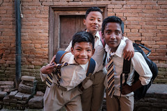 Students after school. (Goran Bangkok) Tags: bhaktapur nepal students boys city street streetphotography streetphoto fujixt3