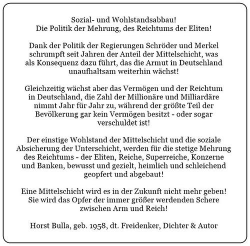 (D) Sozial-und Wohlstandsabbau. Die Politik der Mehrung des Reichtums der Eliten. - Horst Bulla