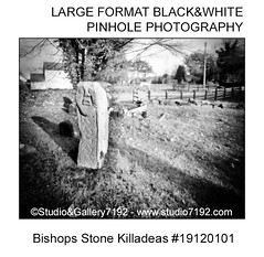 Bishops Stone Killadeas #19120101 - This black and white camera obscura photo is NOT sharp due to camera characteristic. Taken on film with a pinhole camera (jbeugephoto) Tags: bishop bishops stone killadeas fermanagh cemetery natural northernireland country historical northern photography pinhole photo black vintage retro photographic analog image nobody obscura white oldfashioned pinholecamera foma fomapan developer rodinal fixer adofix lerouge45 lerouge54 large format
