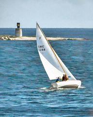 Folkboat passing by Eneskär (tonyguest) Tags: sky water sailboat sailing yacht hss folkboat folkbåt sweden blekinge karlshamn eneskär tonyguest topaz scenicsnotjustlandscapes