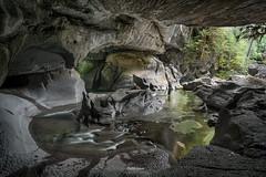 'River Shark Island' Little Huson Caves (Gavin Hardcastle - Fototripper) Tags: fototripper adam gibbs gavin hardcastle uncle grumpy little huson caves vancouver island green reflections karst topography stone rocks river