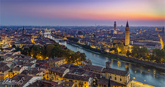 Evening in Verona, Italy (AdelheidS Photography) Tags: adelheidsphotography adelheidspictures adelheidsmitt italy italia verona bluehour evening citylights viewpoint veneto adige river sunset