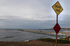 Dead End (Photos By Clark) Tags: canon5div subjects beachshots canon2470 california san diego sign pacific cliff end waves pier oceanbeach thesandiegoist