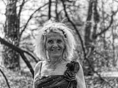 NEVER TOO OLD (NorbertPeter) Tags: woman park people portrait outdoor spontaneous elfia haarzuilens netherlands old panasonic lumix g9 blackandwhite monochrome bw costume cosplay laughing lady