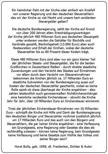 (V) Der Betrug an den deutschen Bürgern und Steuerzahler zu Gunsten der allmächtigen Kirche. - Horst Bulla