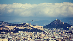 Acropolis of Athens (athanecon) Tags: acropolis partenon parthenonas lycabettus lycavittos athens greece civilization ancientgreece temple church stgeorge gull seagull flying capital sky cloud clouds city buildings hill filopappou nikon nikond750 nikon70300mm nikonphotography
