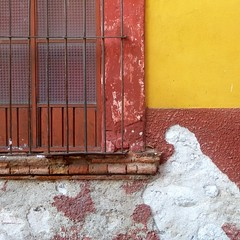 weathered wall and window (msdonnalee) Tags: window janela fenster finestra ventana fenêtre walltexture photosfromsanmigueldeallende méxico mexique mexiko abstractreality rustyandcrusty