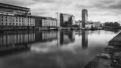 Grand canal basin with Waterways House finished (Wendy:) Tags: dublin canal basin filter leendir mono le grandcanal water reflections gch