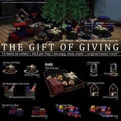 22769 - The Gift Of Giving for The Acade : December 2019 (manuel ormidale) Tags: gifts christmasgifts christmas woodtrain woodlorry cloche gifthouse red blue bronze silver wrapping nutcracker nut basket giftbasket indoor decoration secondlife sl 22769 22769bauwerk gacha gachaset suitcase thearcade arcadesl