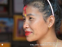 2018-10a Fellow Travellers (14b) 2019 Chaha (Matt Hahnewald) Tags: matthahnewaldphotography facingtheworld qualityphoto people head face forehead red rice tika tilaka thirdeye oriental smilingeyes eyes lips lipstick expression lookingatcamera hairstyle aliceband consensual emotional travel tourism grace beauty style exotic ethnic touristattraction temple devotee worshiper tourist manakamana gorkhadistrict nepal asia asian nepali person one female adult young woman photography background primelens nikond610 nikkorafs85mmf18g 85mm 4x3ratio resized 1200x900pixels horizontal portrait closeup faceshot cropped profileview indoor availablelight colour posing smilingmouthclosed feminine beautiful attractive sensual fabulous hindu