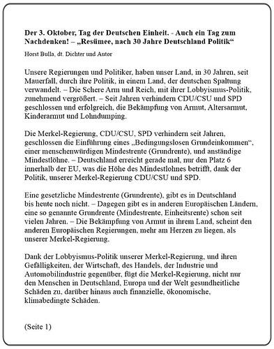Der 3. Oktober, Tag der Deutschen Einheit. - Auch ein Tag zum Nachdenken! - Resümee, nach 30 Jahre Deutschland Politik - Horst Bulla (Seite 1)
