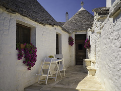 Cul-de-sac (Pawel Wietecha) Tags: culdesac alberobello italy apulia town buildings old ravel trip color light colors vivid outside outdoor journey flowers roof white red grey architecture sky blue sun