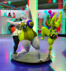 Sculpture by Niki de Saint Phalle 3D (wim hoppenbrouwers) Tags: anaglyph stereo redcyan sculpture nikidesaintphalle 3d beeldenaanzee art kunst niki de saint phalle