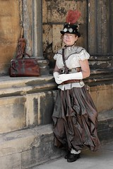Portrait from Lincoln's Asylum XI Steampunk Festival (Gordon.A) Tags: lincolnshire lincoln cathedral asylum xi steampunk weekend convivial festival event 2019 style lifestyle culture subculture creative costume costumes hat goggles parasol design lady woman people face model pose posed posing outdoor outdoors outside wall colour colours color colors amateur natural light portrait portraiture photography digital canon eos 750d sigma 50100mm f18 dc art