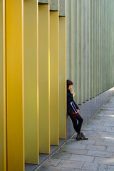 The waiting game (The Green Album) Tags: nottingham contemporary gallery woman texting gold green angular modern architecture design