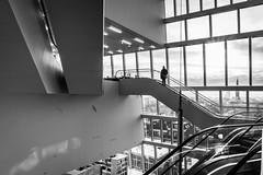 stairs with view (Rien van Voorst) Tags: streetphotography straatfotografie strasenfotografie fotografíacallejera photographiederue fotografiadistrada monochrome city urban highcontrast nederland thenetherlands groningen forum